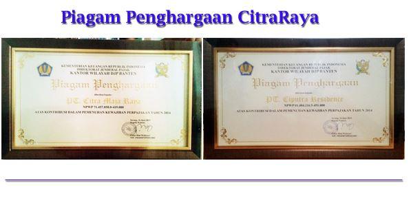 Piagam Penghargaan CitraRaya tangerang