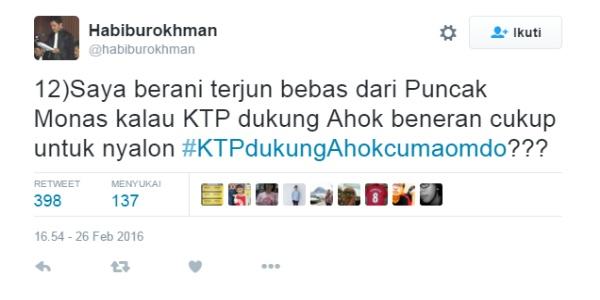 Isi cuitan di akun Twitter Habiburokhman yang berjanji akan loncat dari Monas bila TemanAhok bisa mengumpulkan 1 juta KTP dukungan untuk Ahok
