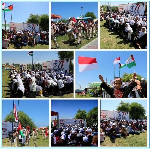 Bendera merah Putih Berkibar Di Gaza palestina Peringatan Kemerdekaan Indonesia
