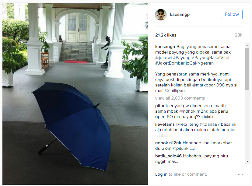 Kaesang Posting Payung Biru Jokowi
