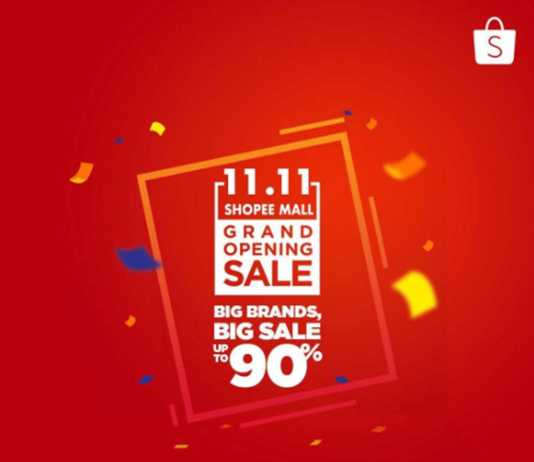 Flash sale 11.11 Shopee Mall Grand Opening Sale